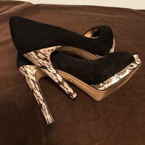 Joan & David black suede peep toe pump. Size8M